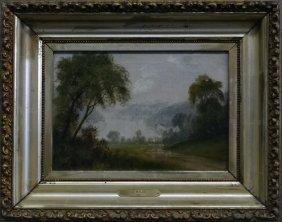 """O/c """"river Landscape"""" Sgnd J. Walsh 1872 9"""" X 13"""""""
