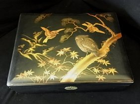Old Black Lacquerware & Gilt Box Birds Branches Motif 1