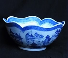 Fine Large Scalloped Scenic Bowl Hand Painted Blue &