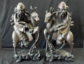 Large Pair 16 3/4� High Chinese Silver Inlaid Huang