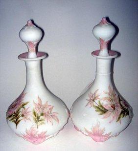 Pr Art Deco Burmese Glass Decorated Decanters Ca192