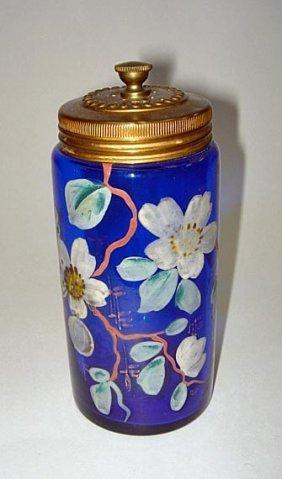 Moser Cobalt Blue Decorated Glass Talc Dispenser 19