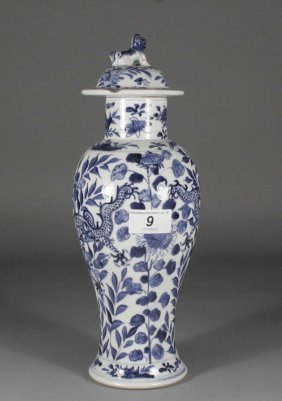 A Chinese Baluster Jar And Cover Painted In Undergla