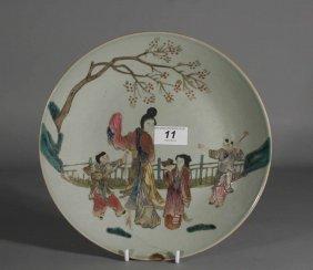 A Nineteenth Century Chinese Celadon Dish Decorated