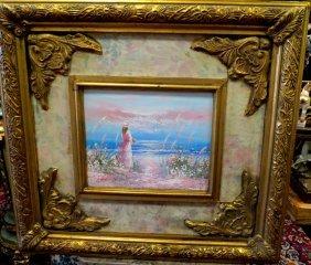 Oil On Canvas. Lady On The Beach