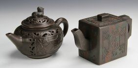 Two Chinese Yixing Teapots