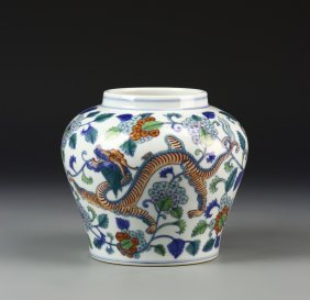 Chinese Qing Dynasty Doucai Jar
