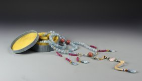 Chinese Qing Imperial Aquamarine Court Necklace