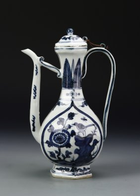 Chinese Blue And White Wine Pot