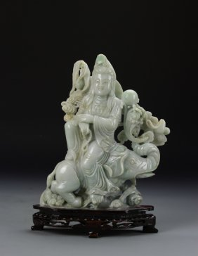 Chinese Jadeite Guanyin With Base