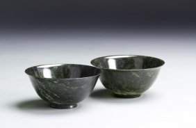 Two Chinese Spinach Jade Bowls