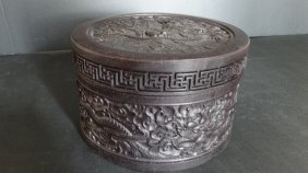 Chinese The Dragon Carved Wooden Box 龙纹