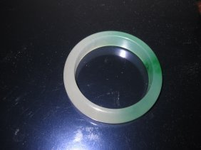 Chinese Green & White Jade Bracelet