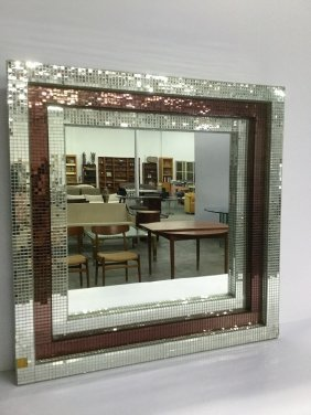 French Micro Mosaic Mirrored Tile Wall Mirror