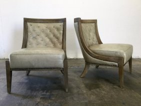 Pair James Mont Style Leather Slipper Chairs