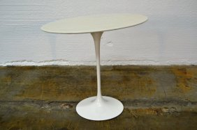 Saarinen For Knoll Oval Marble Side Table