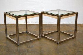 Stainless And Glass Cube Tables