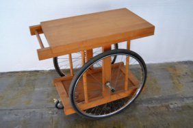 Bicycle Wheel Bar Cart