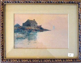 George Wainwright Harvey Watercolor Shore Scene, 5 By 7