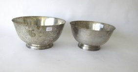 Lot Of 2 Paul Revere Style Sterling Silver Bowls,