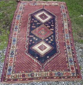 Antique Afshar Oriental Area Rug, 76 By 49 Inches.