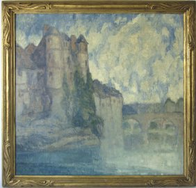 "*george Elmer Browne Oil On Canvas, ""les Rives Du Lot,"""