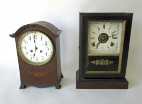 Lot Of Two Old Mantle Clocks, Not Seen Running.