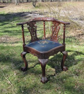 Carved Mahogany Chippendale Style Corner Chair.