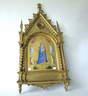 Antique Italian Oil On Paper Of The Madonna And Child