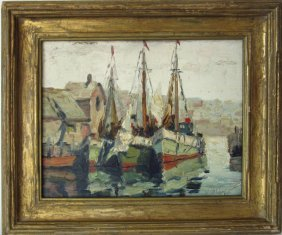 *anthony Thieme Oil On Board Harbor Scene, 8 By 10