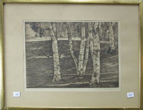 Luigi Lucioni Etching Of Birches, 9.5 By 12.5 Inches,