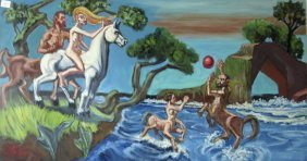 Herbert Leopold Oil On Board Of Nudes And Centaurs, 15