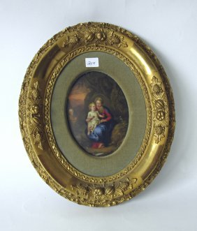 Kpm Type Painting On Porcelain Of The Madonna And