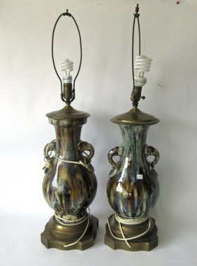 Pair Of Glazed Pottery Table Lamps, 24 Inches Tall
