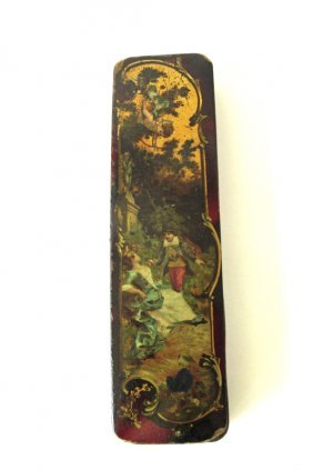 Victorian Hand Painted Pen Box, 8.5 Inches Long.
