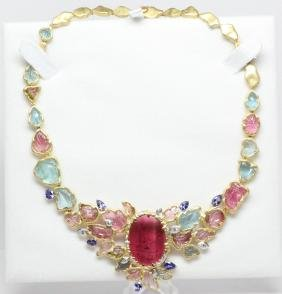 31ctw Vvs Diamond,gemstone Platinum/18k Necklace
