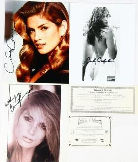 (3) Cindy Crawford Autographed Photos W/(2) COAS