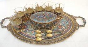 Antique Silver & Champleve Enamel Turkish Coffee Set