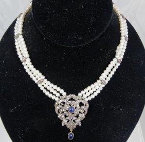 Antique Triple Strand Blue Sapphire, 4mm Genuine Pearl,