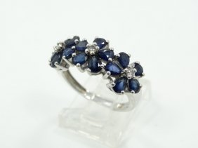 1.50ctw Genuine Blue Sapphire & Solid 18k White Gold