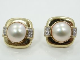 9mm Pearl & Solid 14k Yellow Gold French Clip Earrings