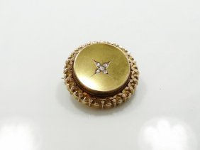 1800's Solid 14k Yellow Gold & 0.20ctw Genuine Rose-cut