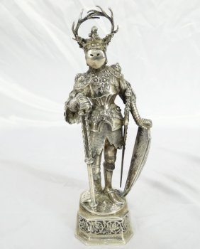 1900's Solid German Silver Knight Statue W/carved Stone