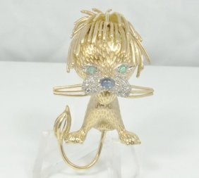 Solid 18k Yellow Gold Lion Brooch With Genuine