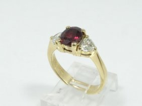 Solid 18k Yellow Gold, 1.00ct Genuine Ruby & 0.60ctw