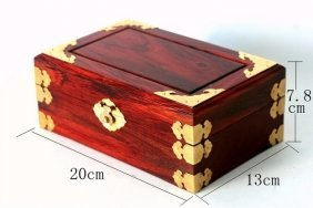 A Nice Redwood Jewelry Box Covered By Coper