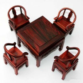 A Set Chinese Table And Chairs Model(redwood)