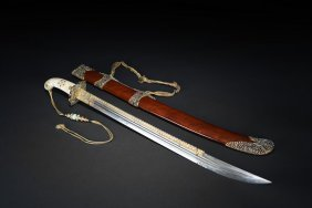 A Marble Handle And Gems Decorated Sword