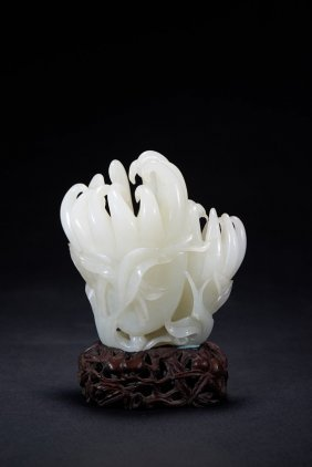 A White Jade Carving Of Finger Citron