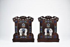 Cloisonne Enamel Inlaid Hongmu 'elephant' Screens